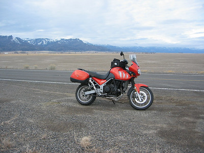 I took a picture here in 2006 when there was water in the dry lake. I thought it would be interesting to take another without the water. That's the Warner Mountains in the background.
