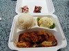 Chicken cutlet, breaded chicken covered with gravy, a large scoop of rice, and a scoop of macaroni salad.