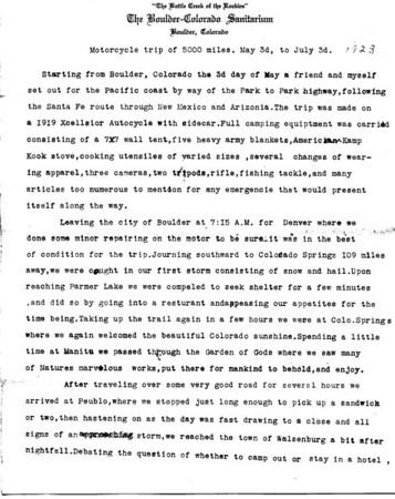 1923 Trip Notes, Partial