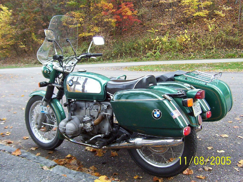 My 1973 BMW R75/5 with Dnepr sidecar, Wixom Bags, and Police solo seat. Paint is non-stock Forest Green.