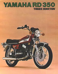 This is the front of an original 1973 Yamaha RD350 Brochure.