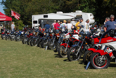 Here Ring-Ding (near the middle with a plaque against the front tire) sits on display among other vintage Yamaha motorcycles at Barber Motorsports in 2007.