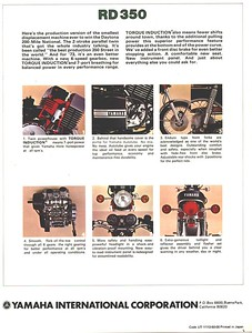This is the back of an original 1973 Yamaha RD350 Brochure. Click on the image to enlarge for reading.