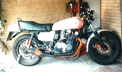 Unfortunately I have no photos of it Army green but every time I got the boat to the UK I would get pulled by customs and asked if my commanding officer knew I was heading back to England ! Morons they thought as I had a skinhead and my bike was army green that I was AWOL. The bike was painted with brush and rough as F@$k and I was just a smelly student with short hair so after been hassled one to many times by customs a change of colour was needed