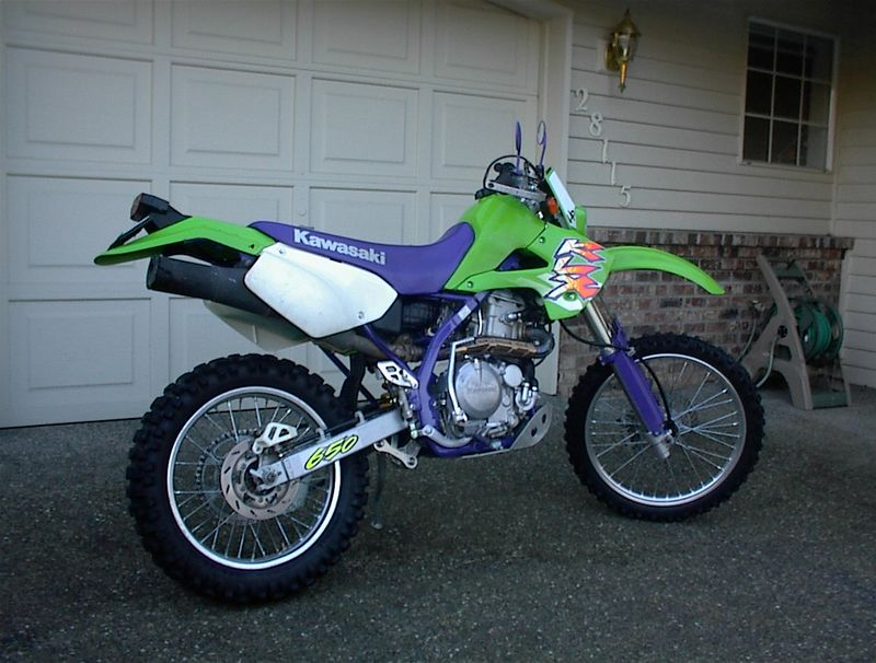 My first dirt bike ever! A 1996 KLX650R with a dual sport kit on it, and plated. What a great bike. No electric start and still about 300 lbs!