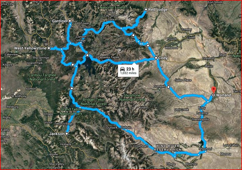 Overall route through Wyoming, Montana, and the greater Yellowstone region.