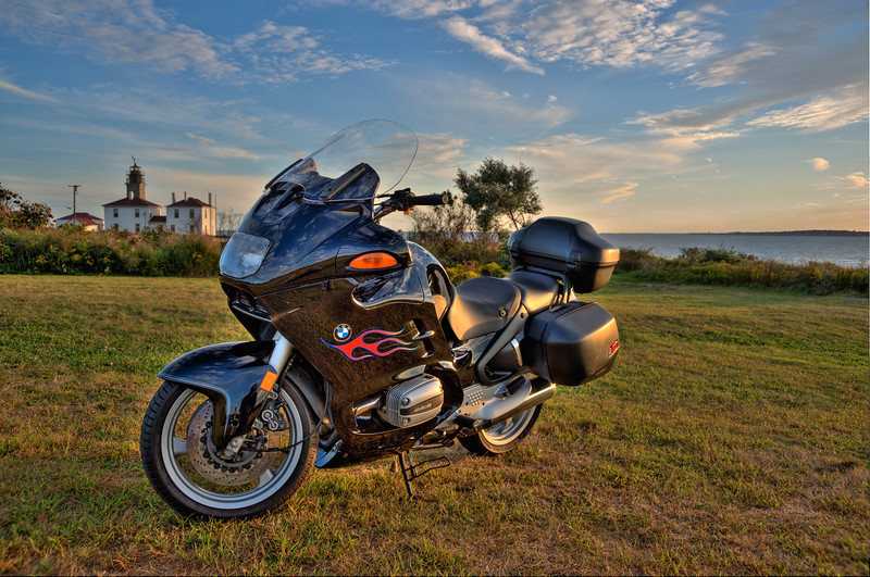 1998 R1100RT BMW at Beavertail, with Pt. Judith on the horizon