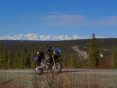 The Richardson Hwy snakes up the hill from crossing Haggard Creek, winding its way on toward Isabel Pass through the rugged Alaska Range - one of my favorite rides.