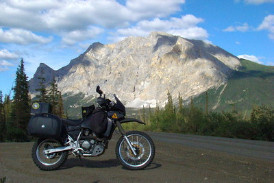 7/4/08 5:34PM - Near Mile 202, Sukukpak Mt makes a striking backdrop for the KLR.
