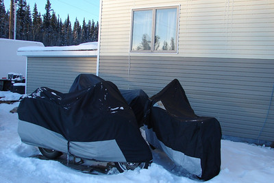 2/8/08 4:00PM - Looking as though they are huddled together for warmth, the GL1800, GS1100, and KLR650 sit outside in mid-winter low temperatures, waiting for spring thaws to liberate them.