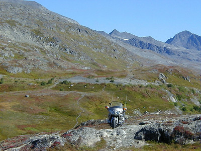9/5/04 - Thompson Pass.  Who says the GL1800 isn't a dual sport bike?  Luckily, my passenger had (misplaced?) confidence in my ability to get us to this viewpoint and back to the highway intact.