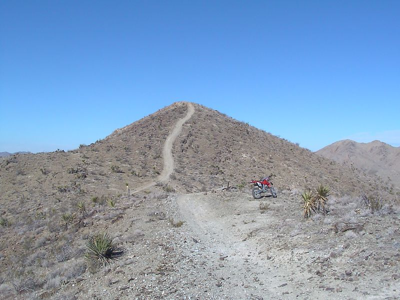 Here is the view up to the top of the ridge from the saddle I rode up to. I'm wondering where Nick and Paul have gotten to.<br /> <br /> That is the XR400R I was riding thanks to Christi. <br /> I did not ride to the top over there. <br /> And the sky is completely free of clouds anywhere, and wonderfully blue. <br /> <br /> Must be about low 70's for air temp. Nice you just break a good sweat kicking the bike until you puke...