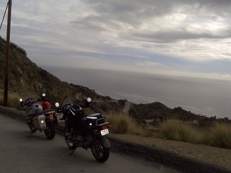 That is the road twisting down there behind the bikes. I think that BIll said this was California State Highway 28...<br /> <br /> Yes, that's it. Not too wide for a highway!