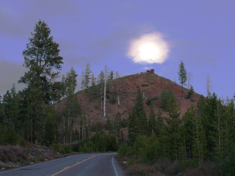 """<font size=""""+3"""">This trip cooincided with the full moom.  That's what this is, the moon coming up over some un-named butte like thing."""