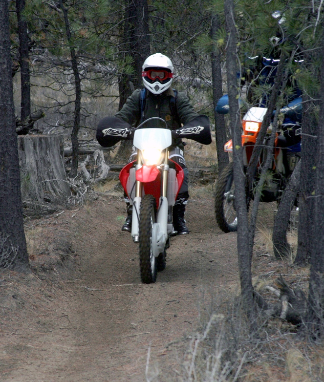 """<font size=""""+3"""">Finally, the rest of the party shows up.  Here's Christina on her new CR250F.  This is her third actual trail ride, and her performance was admirable!"""