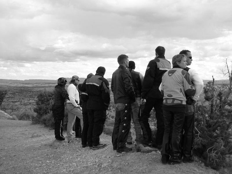 The crew, looking down on Calf Creek