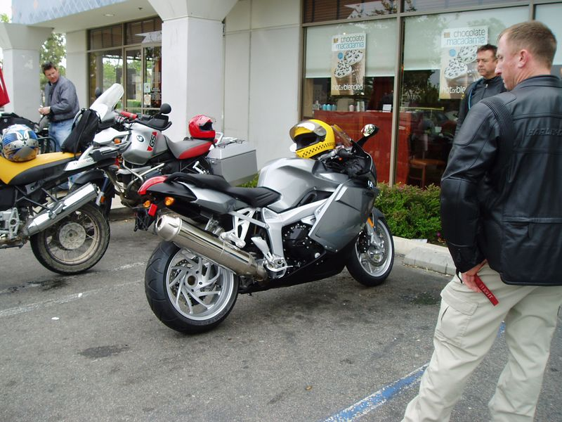 A few of us at the coffee shop pre-ride, checking out Alan's new ride...<br /> <br /> K1200S, nice.