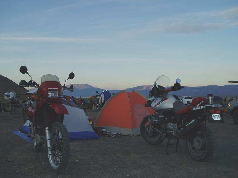 Moto-camp porn.<br /> Paul's KLR, and my Adventure and our tents.