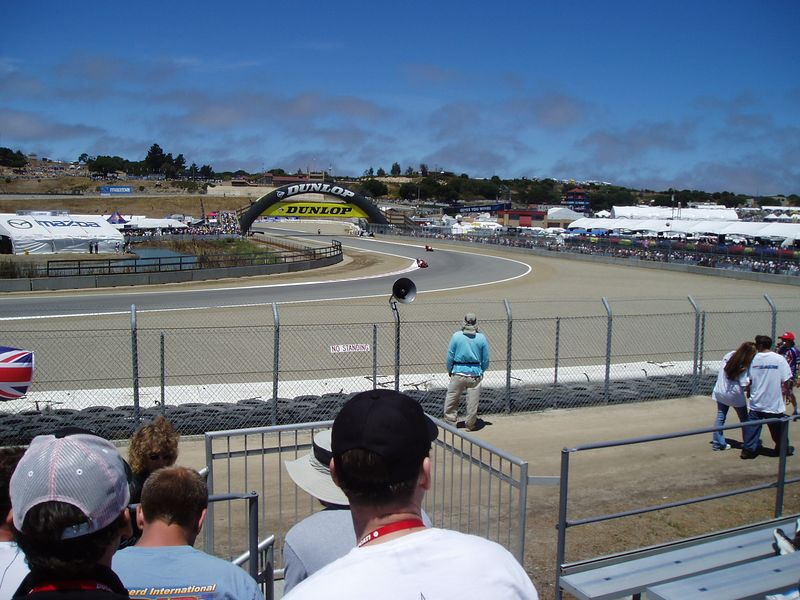 My view from the turn 4 grandstands. Nice people around me. Not too many folks were sitting. My hip had, had enough walking on Saturday so I parked here for a bit. All my shots of bikes though were junk. On the good side the weather was great.