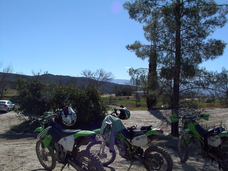 More bikes and view.<br /> The Palomar observatory is off in the distance behind the tree on that far ridge.
