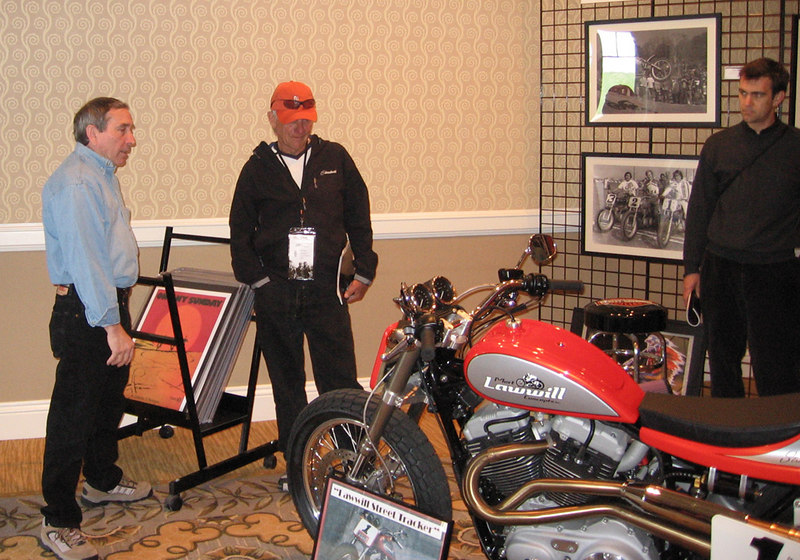 Mert Lawill with his Sportster-engined flat track replica.