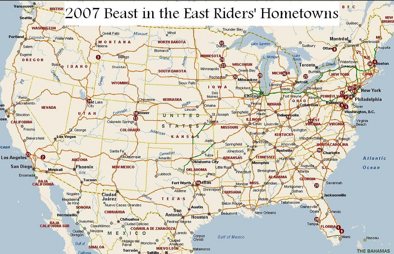 Map of all the riders' hometowns.