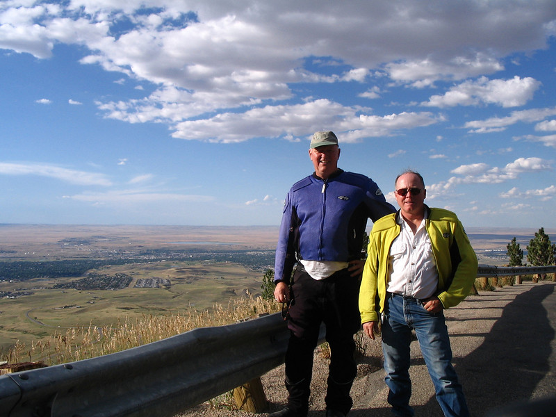 Overlook of Casper as Harry and myself wind up the Casper mountain, The Historic Trail Musem is on the far side of the Platte River valley.