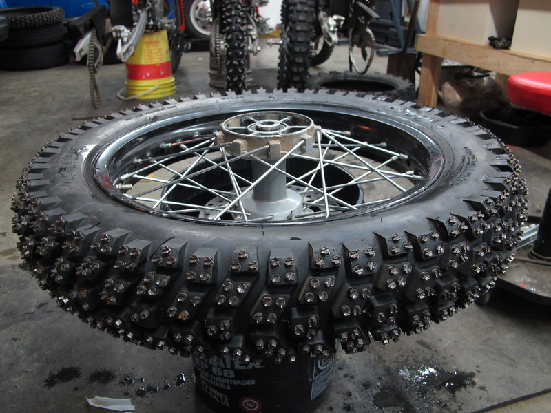 Fredette ice racing tire on a cush drive wheel stolen for the winter off the 640.