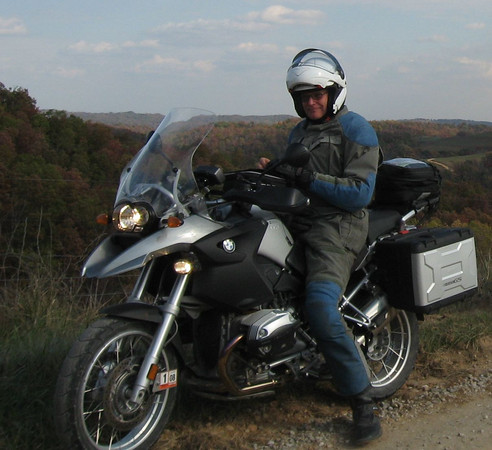 Me and my 2007 BMW R1200GS. Somewhere in West Virginia early November of '07.