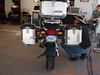 """Trax panniers from rear. My only problem with them is the width, 42"""" wide. Handlebar is 38"""" wide. Right box is 45 ltrs, left is 37 ltrs. Two 37 ltr boxes would have reduced the width to about 39""""."""
