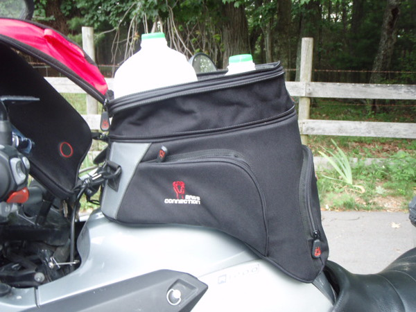 "The bag expands about 3"" in height, fits the GS tank slope well."