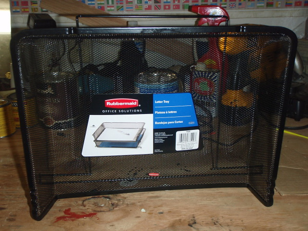 This is a wire mesh stackable letter tray I bought at WalMart for $4. It going to become a oil cooler protective screen.