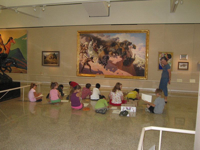 Kids drawing at the Buffalo Bill Museum