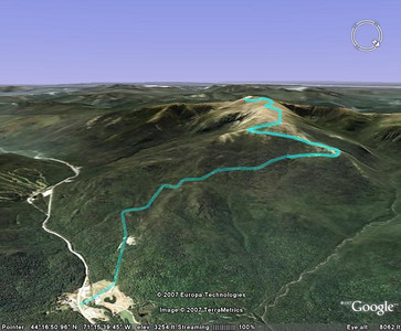 Google Earth view of the Mt. Washington Auto Road.  7.6 miles and an elevation change from 1640 feet to 6288 feet.