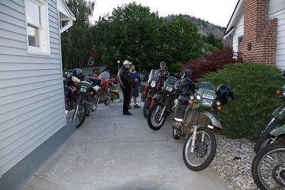 The bikes stacked up and flowed down the driveway.