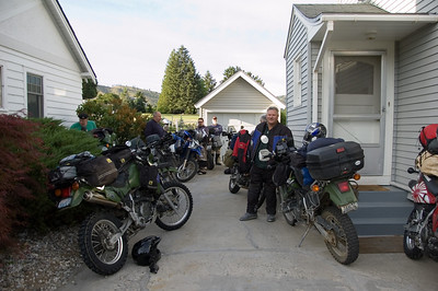 JR's driveway soon became a sea of bikes, mostly KLRs.