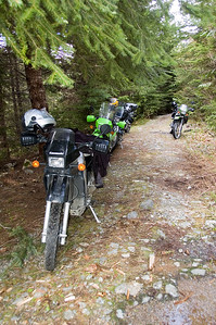 "The ""road"" just before the crossing.  This is as close to single track as a KLR can realitically go..."