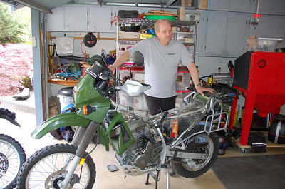 John trying to snap Steve's bike in half.  It didnt work.