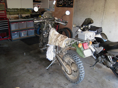 My KLR the next day.  I had to pull the tank to straighten the radiator stay.