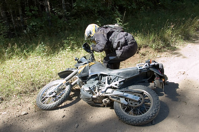 No damage to Robert, but the bike broke the rear brake bracket.