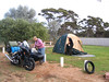 Met Norm and Rita on the Nullabor Plain and then again here at Norseman. They described the campground for me to find. Norm brought along a front tire on the six week trip and changed it at the campground the prior night finishing in the twilight.