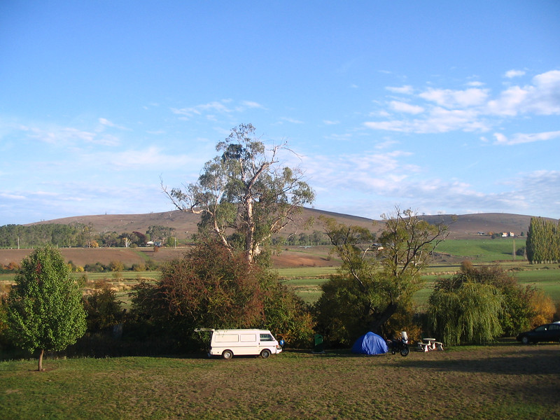 Camping at Hamilton, Tasmania, the highlands. Brr it was cold! I took a lightweight bag for the trip! Free camp at this park with hot showers. Hows that for frugal travel?