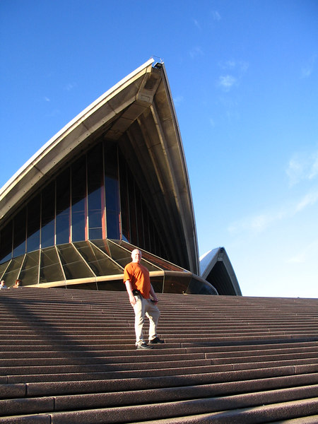 After arriving in Sydney Mar 28 2007 Dan at the Opera House, Sydney Harbor.