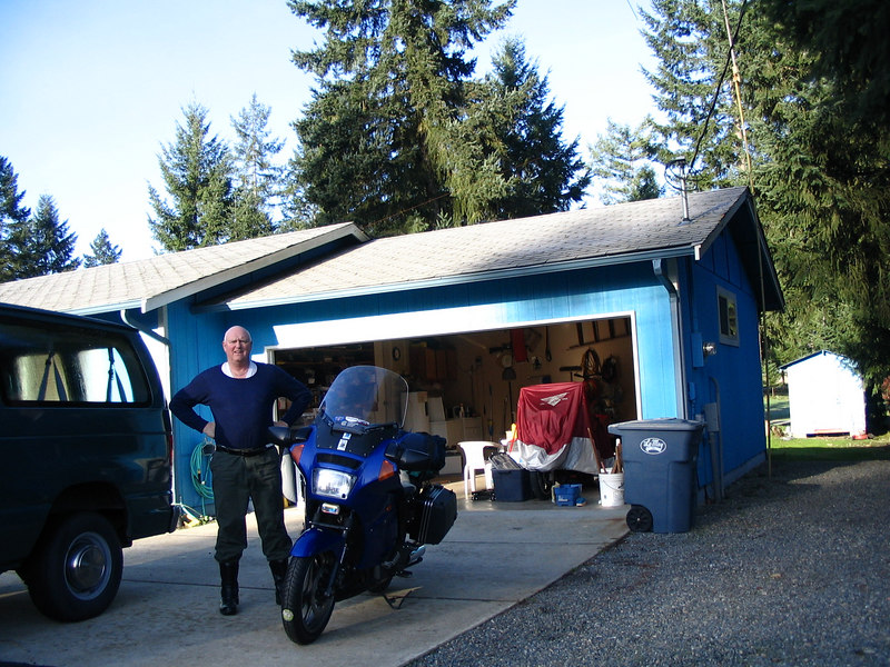 Day one, Mar 21 2007. New front tire,bike loaded and ready to start the AU adventure with first leg from home in Graham WA to Grants Pass OR. then to San Francisco for flight to Australia.