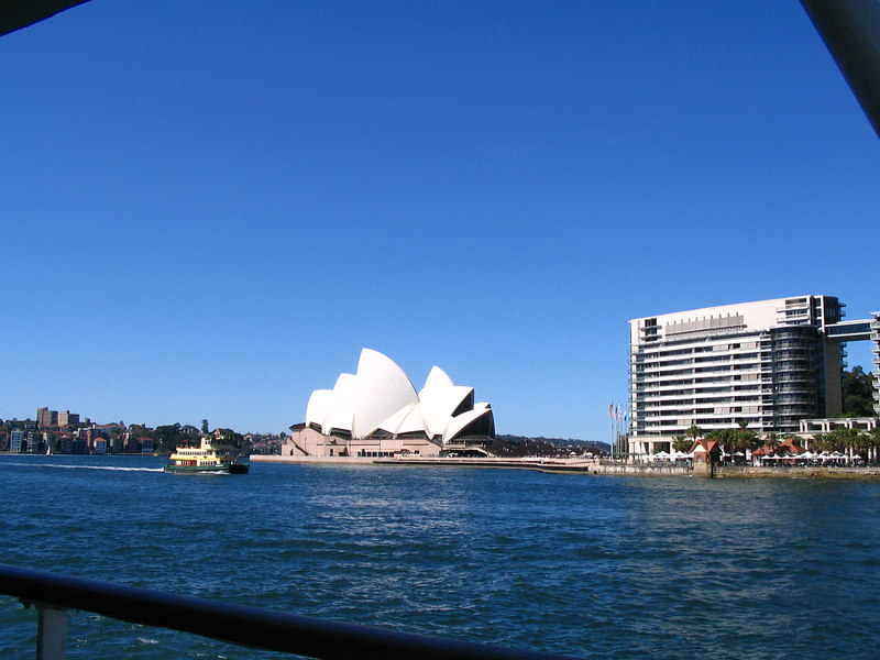 On a harbor cruise looking at the Opera House bldg.