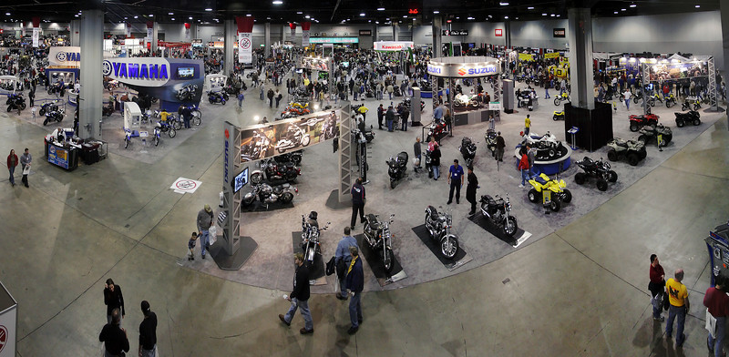 A panorama of the floor of the 27th Annual Cycle World International Motorcycle Show in Atlanta