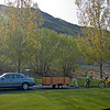Rig de-evolution.  Slade's sedan, trailer, and green machine.