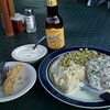 Fried pickles, chicken fried chicken, lima beans, mashed taters, and a nice cold Shiner to end a great day riding.