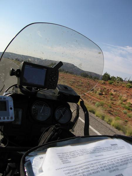 My cockpit view - XM, GPS, Radar, rally paperwork