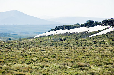 Snow in the desert at the high altitudes.